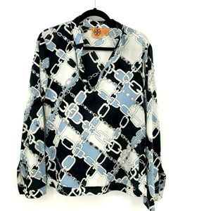 Tory Burch Embellished Chain Print Tunic Blouse